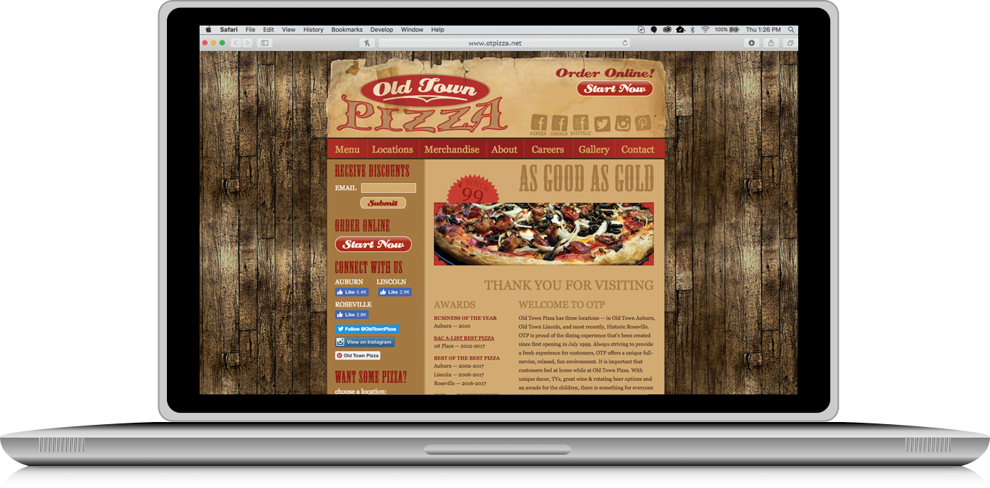 Old Town Pizza website